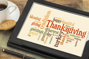 cloud of words or tags related to celebration of Thanksgiving Day on a  digital tablet with a cup of
